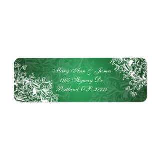 Elegant Wedding Address Vintage Swirls  Green Return Address Label