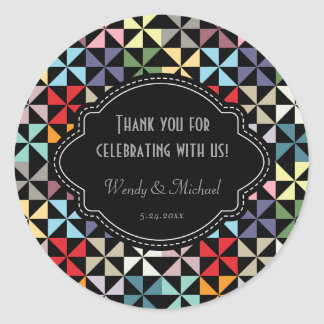 Elegant Wedding Anniversary Black Pinwheel Pattern Classic Round Sticker