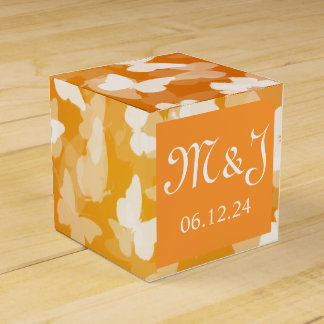 Elegant Wedding Butterflies Monogram Orange Party Favour Boxes