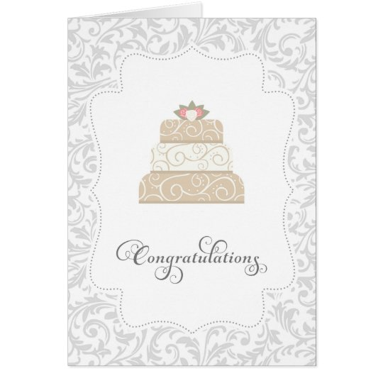 Elegant Wedding Cake Congratulations Card