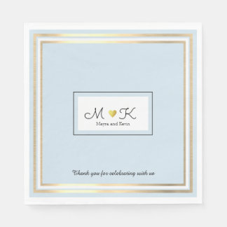 elegant wedding celebration reception pale blue disposable napkins