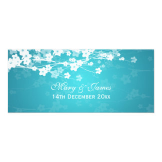 Elegant Wedding Cherry Blossom Blue 10 Cm X 24 Cm Invitation Card