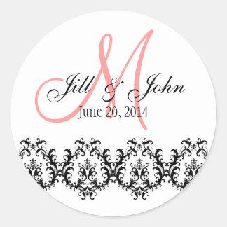 Elegant Wedding Coral Monogram Save the Date Round Sticker