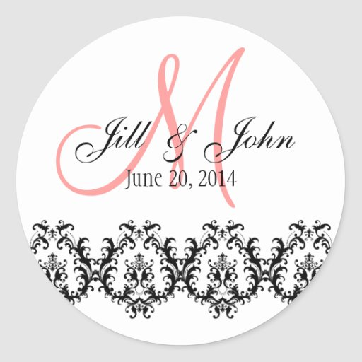 Elegant Wedding Coral Monogram Save the Date Sticker