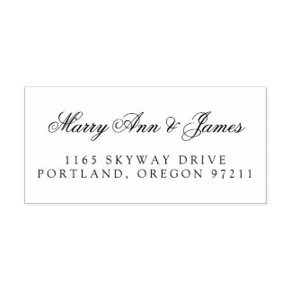 Elegant Wedding Couple's Name Address Self-inking Stamp
