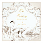 Elegant Wedding Cream White Swans Bow Set Personalised Invitations