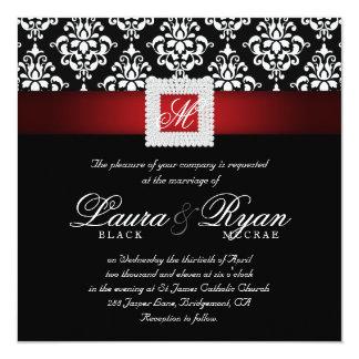 Elegant Wedding Damask Jewels Red Black White Sq 13 Cm X 13 Cm Square Invitation Card
