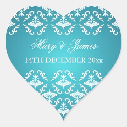 Elegant Wedding Date Vintage Damask Blue Stickers