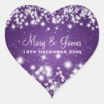 Elegant Wedding Date Winter Sparkle Purple Heart Heart Stickers