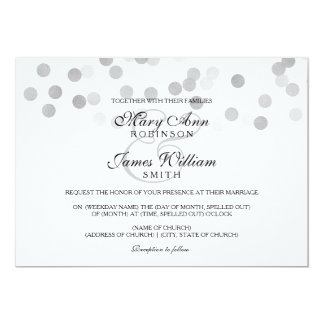 Elegant Wedding Faux Silver Foil Glitter Lights 13 Cm X 18 Cm Invitation Card