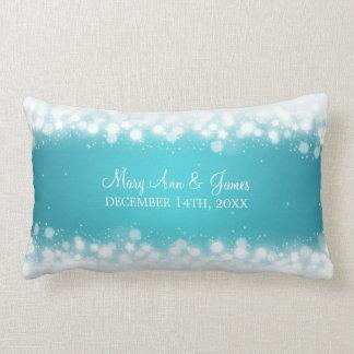 Elegant Wedding Favor  Magic Sparkle Turquoise Lumbar Cushion