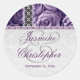 Elegant Wedding Favor PURPLE Roses and Lace V07 Round Sticker