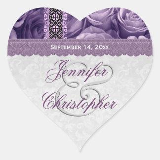 Elegant Wedding Favor PURPLE Roses V02 Heart Sticker