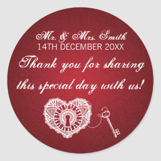 Elegant Wedding Favor Tag Key To My Heart Red Round Sticker