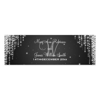 Elegant Wedding Favor Tag Night Dazzle Black Pack Of Skinny Business Cards