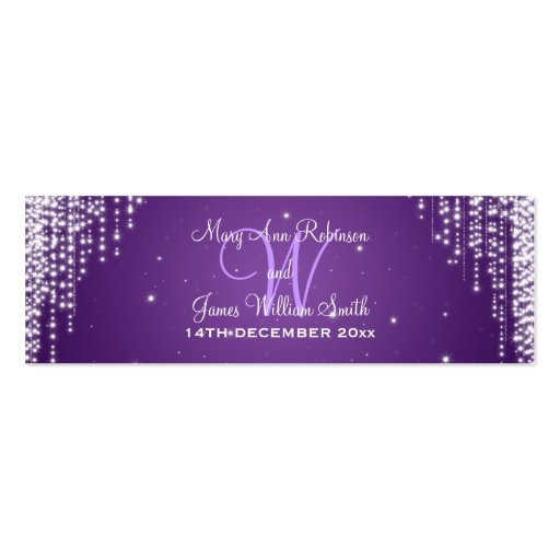 Elegant Wedding Favor Tag Night Dazzle Purple Business Card Templates