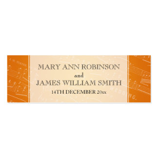 Elegant Wedding Favor Tag Sheet Music Orange Business Card Template