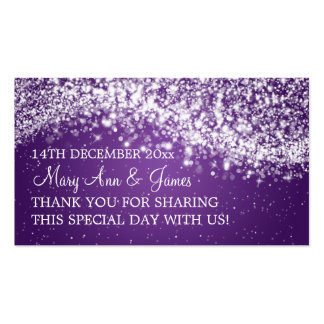 Elegant Wedding Favor Tag Sparkling Wave Purple Pack Of Standard Business Cards