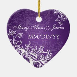 Elegant Wedding Favor Vintage Swirls Purple Ceramic Ornament