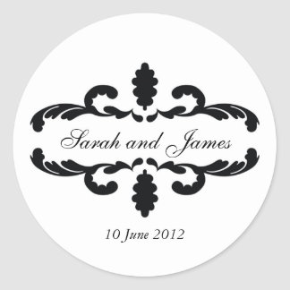 Elegant Wedding Favour Stickers Names Date
