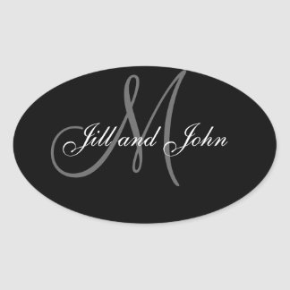 Elegant Wedding Favour Stickers Oval Shape