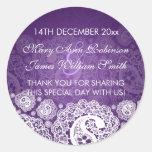 Elegant Wedding Favour Tag Paisley Lace Purple Round Sticker