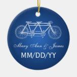 Elegant Wedding Favour Tandem Bike Blue Round Ceramic Decoration