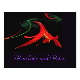 Elegant Wedding Floral Purple Red Lily Modern 11 Cm X 14 Cm Invitation Card