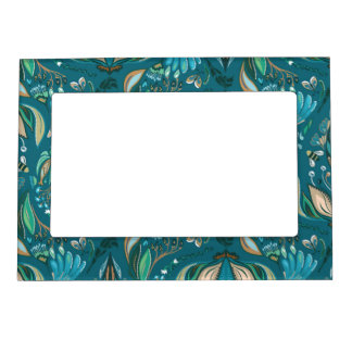 Elegant wedding floral rustic beautiful pattern magnetic picture frame