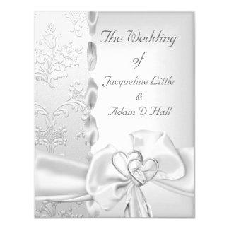Elegant Wedding Floral Silver White Bow Hearts Card