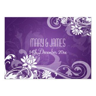 "Elegant Wedding Floral Swirls Purple 5"" X 7"" Invitation Card"