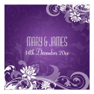 Elegant Wedding Floral Swirls Purple Invitation