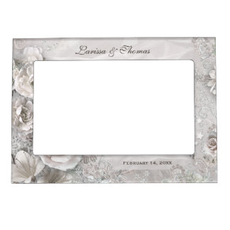 Elegant Wedding Frame with Names & Date Magnetic Picture Frame