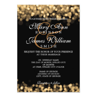 Elegant Wedding Gold Lights 13 Cm X 18 Cm Invitation Card