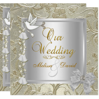 Elegant Wedding Gold Silver White Dove Card