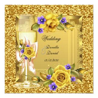 Elegant Wedding Gold Yellow Rose Purple 13 Cm X 13 Cm Square Invitation Card