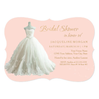 Elegant Wedding Gown Bridal Shower Invite