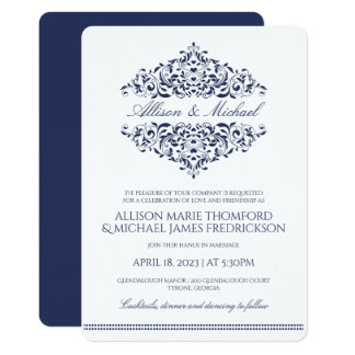 Elegant Wedding Invitation | Charlene (Navy)