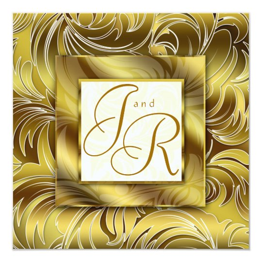 Elegant Wedding Invitation Leaf Floral Gold