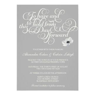 Elegant Wedding Invitation with Anemone, grey