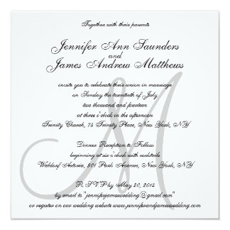 Elegant Wedding Invitations Monogram Initial Names
