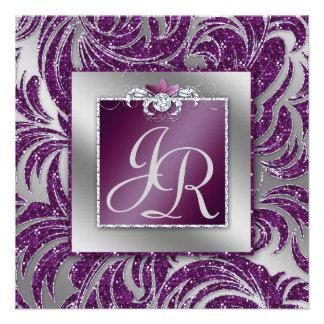 Elegant Wedding Invite Leaf Floral Purple Sparkle