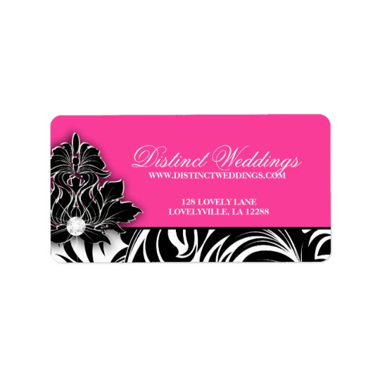 Elegant Wedding Label Jewellery Logo Pink Address Label