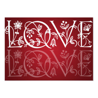 Elegant Wedding Love Flourish Red 13 Cm X 18 Cm Invitation Card