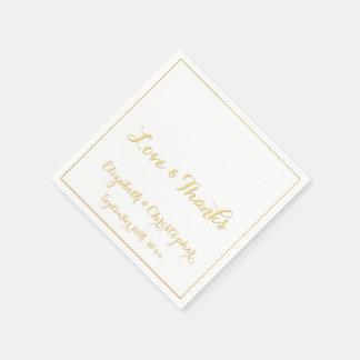 Elegant Wedding Love Thanks Faux Gold Paper Napkin