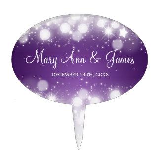 Elegant Wedding Magic Sparkle Purple Cake Pick