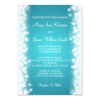 Elegant Wedding Magic Sparkle Turquoise 13 Cm X 18 Cm Invitation Card