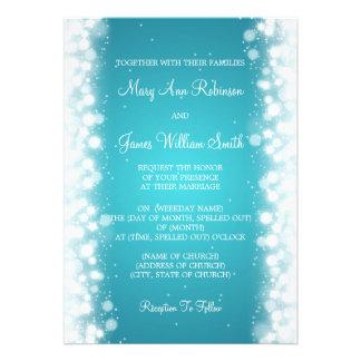 Elegant Wedding Magic Sparkle Turquoise Personalized Announcements
