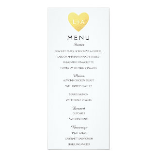Elegant Wedding Menu heart initials 10 Cm X 24 Cm Invitation Card
