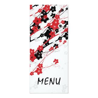 Elegant Wedding Menu  Japanese Flowers Red Card